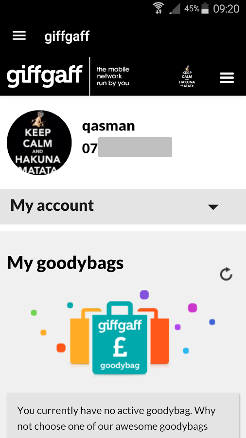 giffgaff app- screenshot