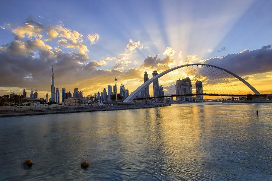 Dubai Canal  by Ricky Pagador - City,  Street & Park  City Parks ( park, street, day, architecture, sunrise, daylight, city )