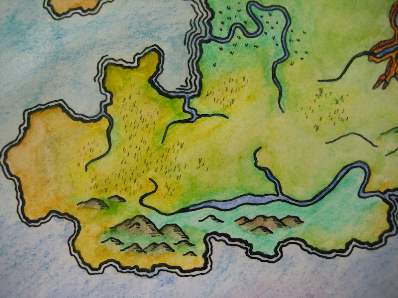 Photo: Then after I put the color in I thought this area needed more focus on the grasslands, I diluted some ink, AND THEN AUGH I RUINED IT