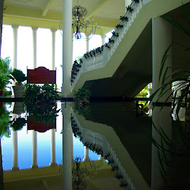 Reflecting Pool by Kirk Barnes - Buildings & Architecture Architectural Detail ( stair, reflection,  )
