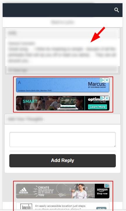 соотношение основного контента к рекламе на просевшем сайте
