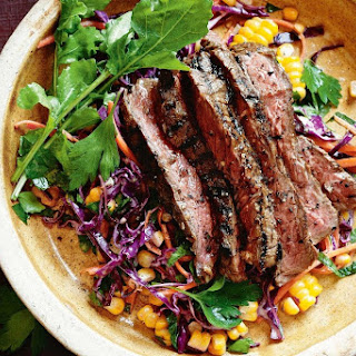 Jerk Steaks With Cornslaw.