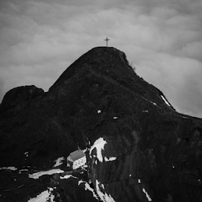 Church on a hill by Jay Hathaway - Landscapes Mountains & Hills ( mountains, church, cross, black and white, clouds )