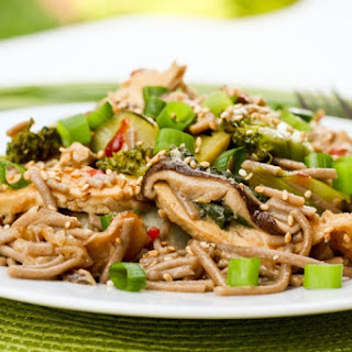 Soba Noodle Stir Fry with Tofu, Mushrooms, Broccoli and Bok Choy.