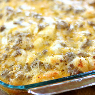 Sausage, Egg & Cheese Biscuit Casserole.