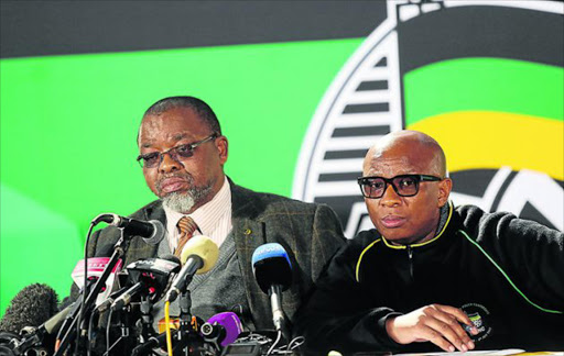 ATTENTIVE: ANC secretary-general Gwede Mantashe and national spokesperson Zizi Kodwa listens to a question during a media briefing about the readiness of the six day ANC national policy conference taking place at Nasrec Picture: MASI LOSI