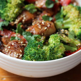 Sesame Chicken Stir-Fry with Coconut-Ginger Brown Rice + Crushed Cashews.