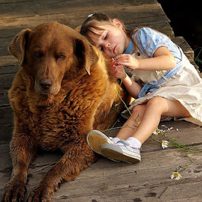 Someone to lean on by Giselle Pierce - Babies & Children Children Candids ( girl, dog )