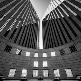 Urban Plaza by Christopher Pischel - Buildings & Architecture Office Buildings & Hotels ( office, urban, b&w, black and white, wide angle, reflections, shadows, downtown, city )