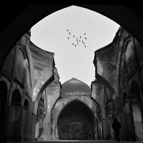 Broken Dome by Sourav Makal - Buildings & Architecture Decaying & Abandoned ( history, abstract, freedom, black and white, architecture, travel photography,  )