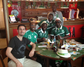 Photo: Hanging w/ other Nigerian fans before the game (photo credit: Raj Dhar)