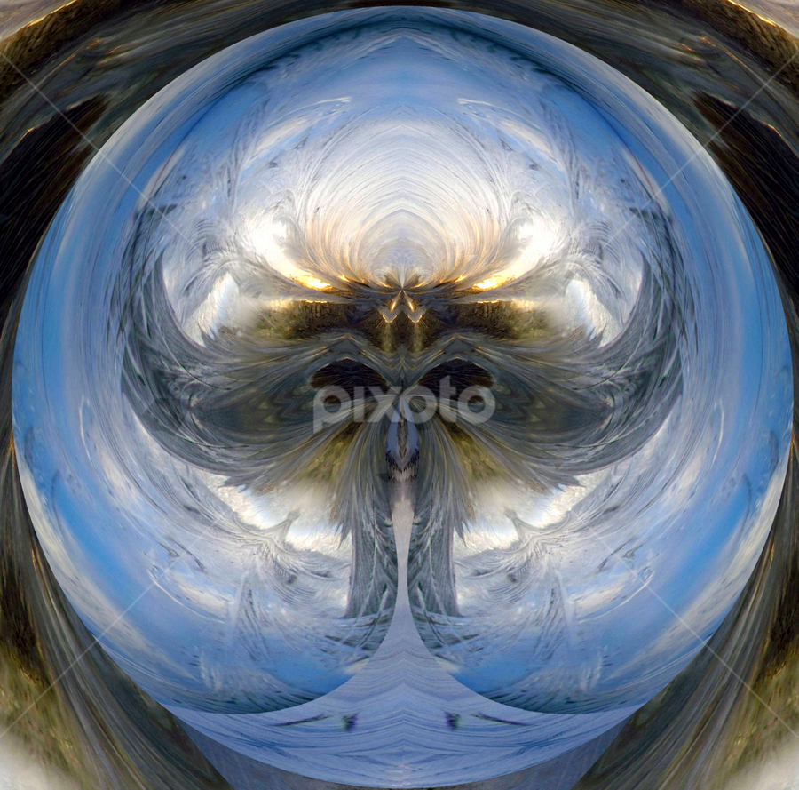 Ice Prince Awakens by Tina Dare - Digital Art Abstract ( abstract, patterns, frost, circle, shapes, fantasy, mystical, abstracts, designs, ice, wings, globe, blues )