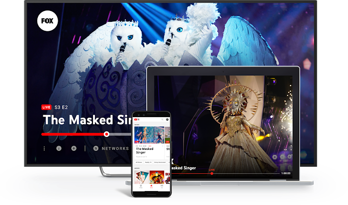 YouTube connected TV (CTV) services on TV, laptop, and smart phone