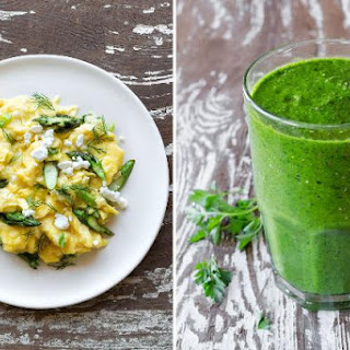 Asparagus goat cheese scramble & Kale and mango smoothie.