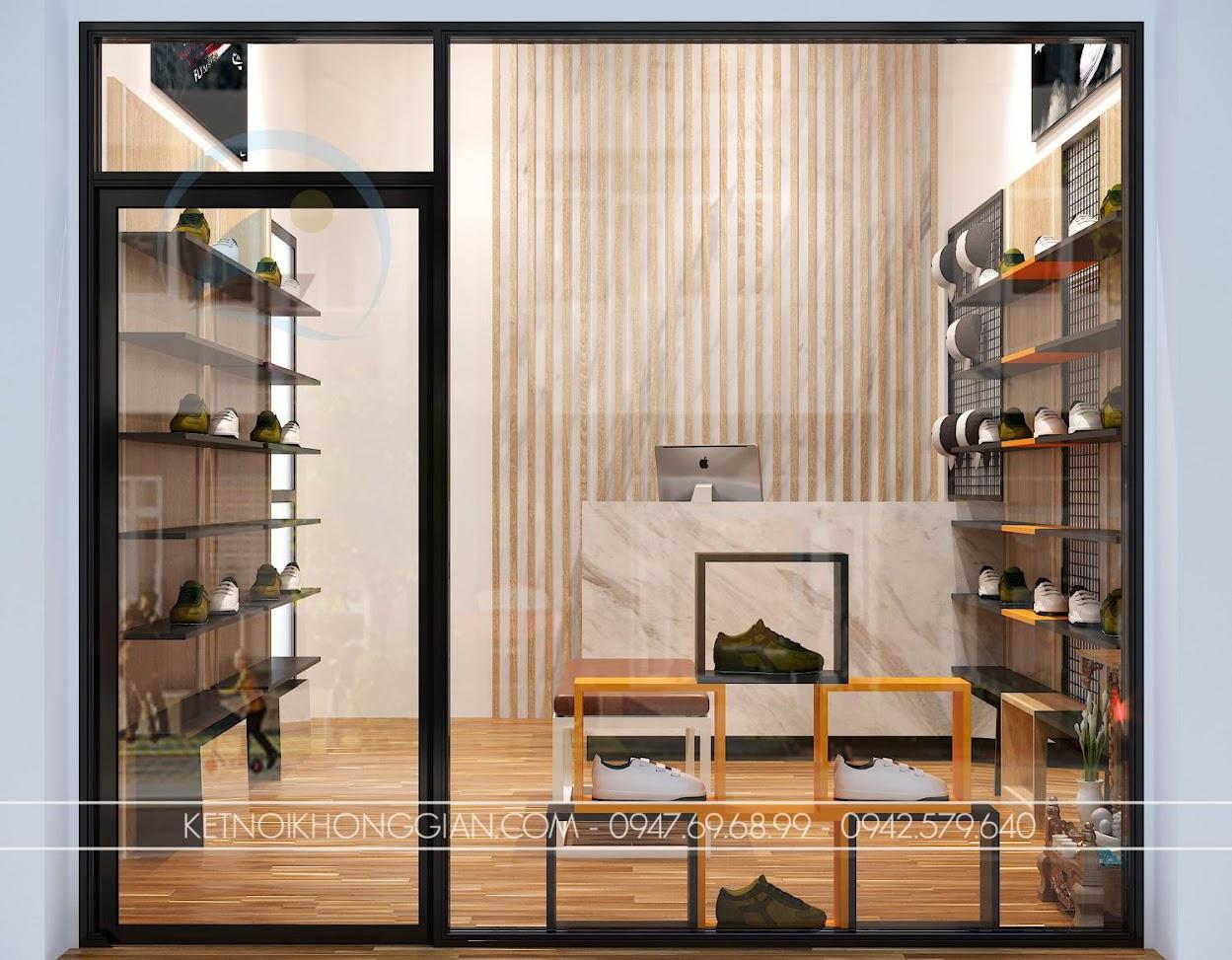 thiết kế shop giày dép nhỏ 16m2