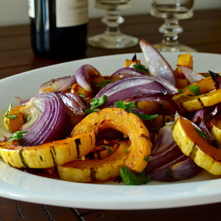 Roasted Red Onion and Delicata Squash.
