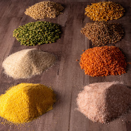 Grains and more by Burdell Edwin - Food & Drink Ingredients ( pepper, salt, green, corn, yellow, split peas, pink salt, himalaya pink salt, rice, grains, lentils, brown rice, orange, baking, peas, split, ingredients, wheat, wood, cooking, himalya )