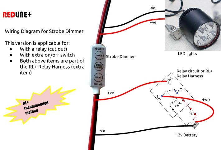 RL+ Wiring Diagram for Strobe Dimmer 2 - with relay