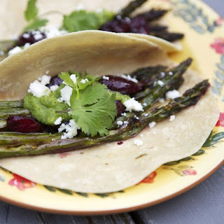 Roasted Asparagus and Cherry Tacos
