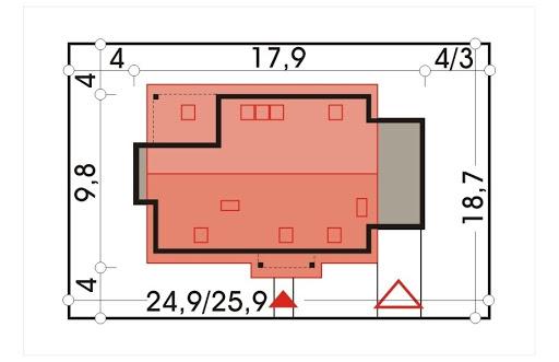 Ada wersja B z pojedynczym garażem - Sytuacja