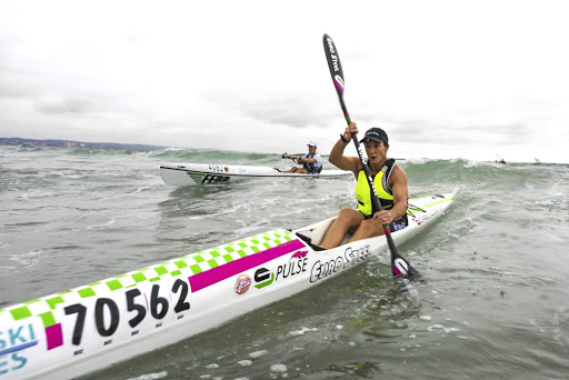 Paddle power: Hayley Nixon led home a five-medal haul for Team SA when she won the senior women's crown a the ICF Ocean Racing World Championships in Hong Kong at the weekend. Picture: ANTHONY GROTE/GAMEPLAN MEDIA