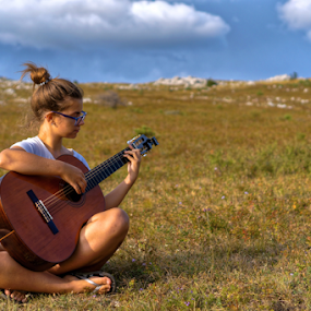 Girl with Guitar in Nature by Dalibor Jud - People Portraits of Women ( playing, music, girl, nature, outdoors, croatia, summer, guitar, hrvatska )