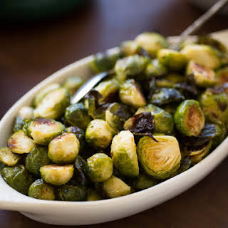 Roasted Brussels Sprouts and Shallots With Balsamic Vinegar.