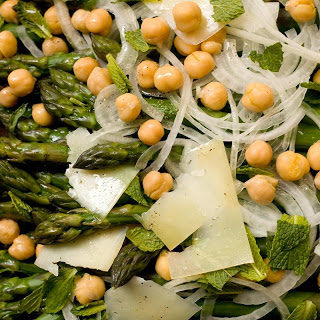 Asparagus with Sweet Onions, Garbanzo Beans, and Mint.