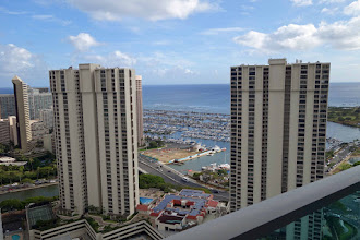 Photo: Waikiki beach from our hotel balcony on the way out to Oz. Very noisy city, couldn't wait to leave.