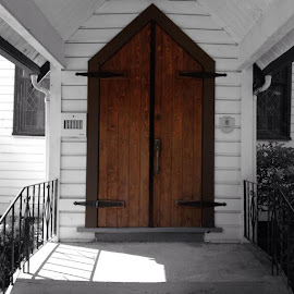 Church Entrance by Ernie Kasper - Instagram & Mobile iPhone ( railing, doors, building, handle, siding, window, wood, carpentry, covering, architecture, heritage, entrance )