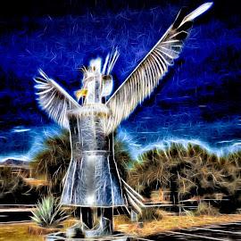 Native American by Dave Walters - Digital Art Abstract ( native american, art, statue, abstract, colors )