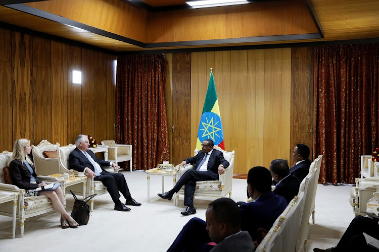 US Secretary of State Rex Tillerson, flanked by his chief of staff Margaret Peterlin, meets Ethiopian Prime Minister Hailemariam Desalegn in Addis Ababa, Ethiopia, March 8 2018. Picture: REUTERS