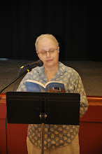 """Photo: Peggy Barnett reads """"The Longest Word,"""" the only poem in the anthology written AT a prior RASP event."""