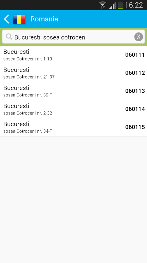 Postal codes- screenshot