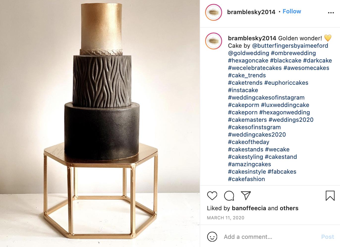 brown to gold gradient wedding cake