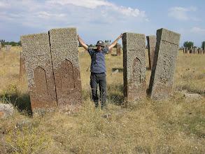 Photo: Mick and Seljuk cemetery, north shore of Van Lake