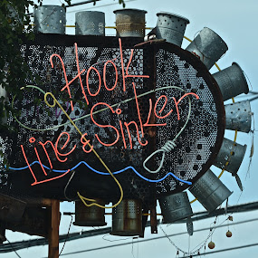 Hook, Line and Sinker by Victoria Eversole - Artistic Objects Signs ( city scene, dallas, neon, restaurant sign )