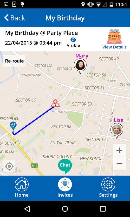 MapMyMeet - Meet Up by messaging Directions Routes- screenshot