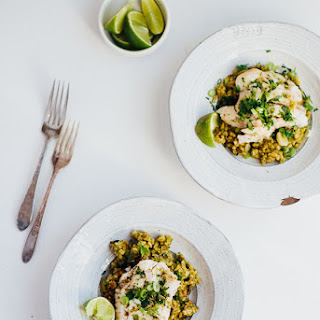Green Rice With Poached Fish And Herbed Brown Butter