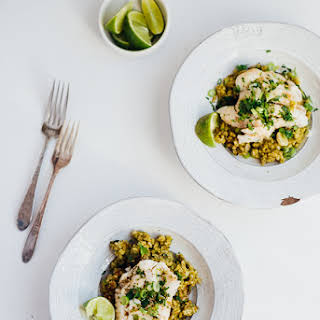 Green Rice With Poached Fish And Herbed Brown Butter.