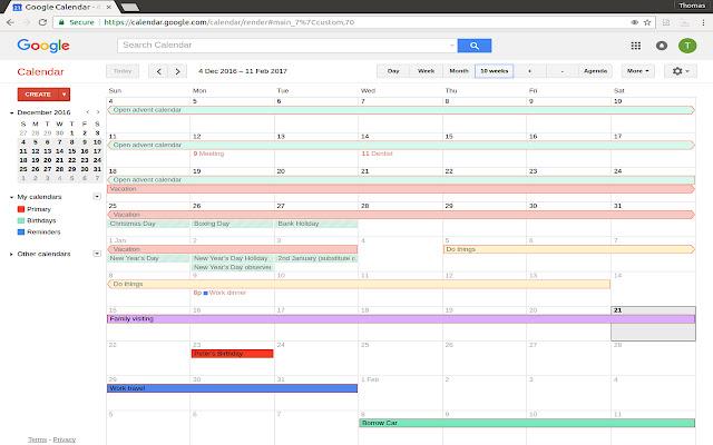 Unlimited weeks in Google Calendar™