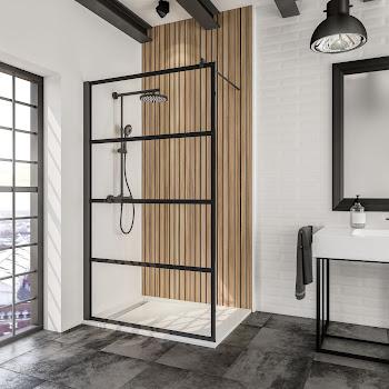 Paroi de douche fixe Loft Atelier, style industriel, 120 cm, profilé noir