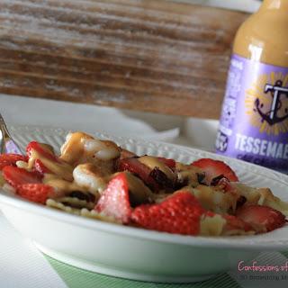 Honey Balsamic Grilled Shrimp, Strawberry and Cranberry Gorgonzola Pasta Salad.