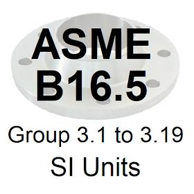 ASME B16.5 Group 3.1 to 3.19 SI Units