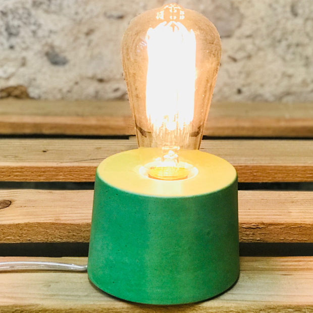 lampe béton vert design fait-main création made in france