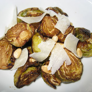 Roasted Brussels Sprouts with Balsamic Vinegar, Pine Nuts and Parmigiano Reggiano.