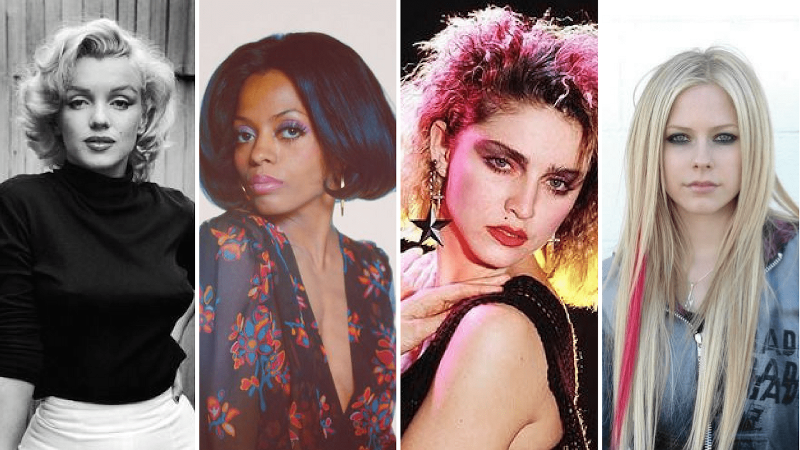 Four women showing four different beauty looks throughout the years
