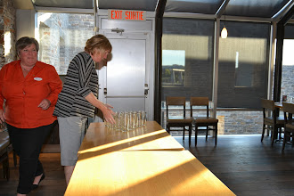 Photo: Cathy Godin, Christine Kemp setting up beer pong game for ASHRAE Research