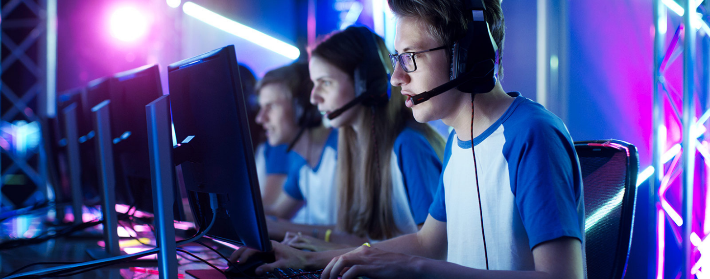 esport gamers playing video games