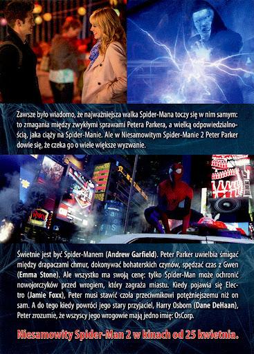 Tył ulotki filmu 'Niesamowity Spider-Man 2'